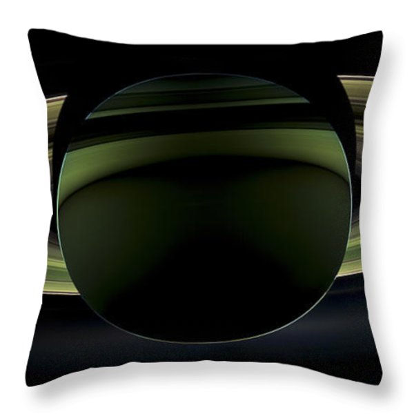 Saturns Glowing Rings Throw Pillow by Adam Romanowicz