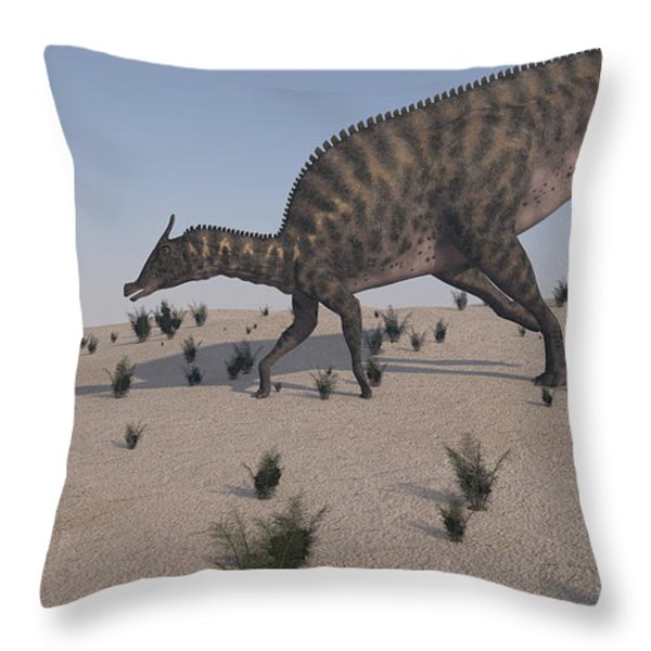 Saurolophus Walking Across A Barren Throw Pillow by Kostyantyn Ivanyshen