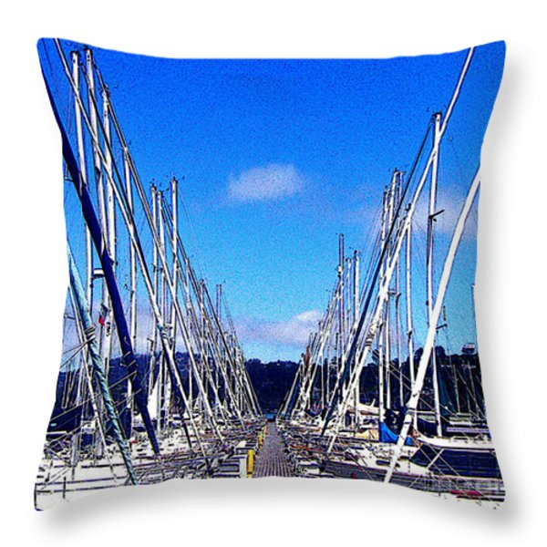 Sausalito Sailboats Throw Pillow by Jerome Stumphauzer