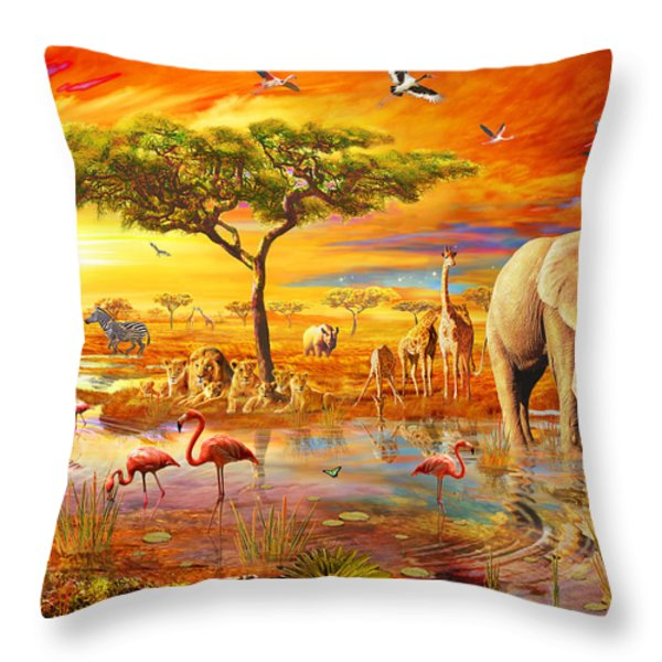 Savanna Pool Throw Pillow by Adrian Chesterman