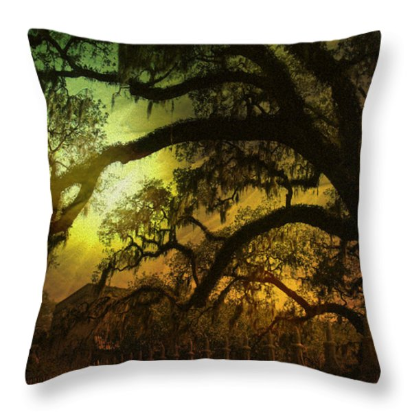 Savannah Ga Spanish Moss-featured In Best Blank Greeting Cards And Harmony And Happiness Groups Throw Pillow by EricaMaxine  Price