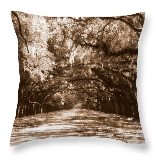 Savannah Sepia - The Old South Throw Pillow by Carol Groenen