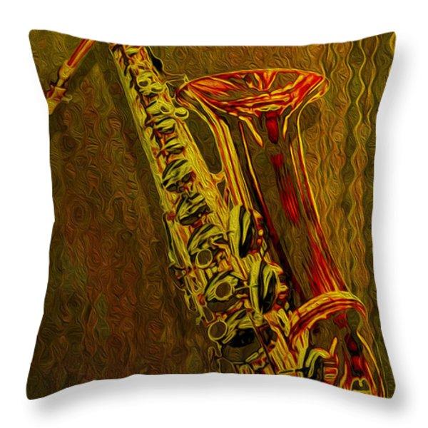 Sax Throw Pillow by Jack Zulli