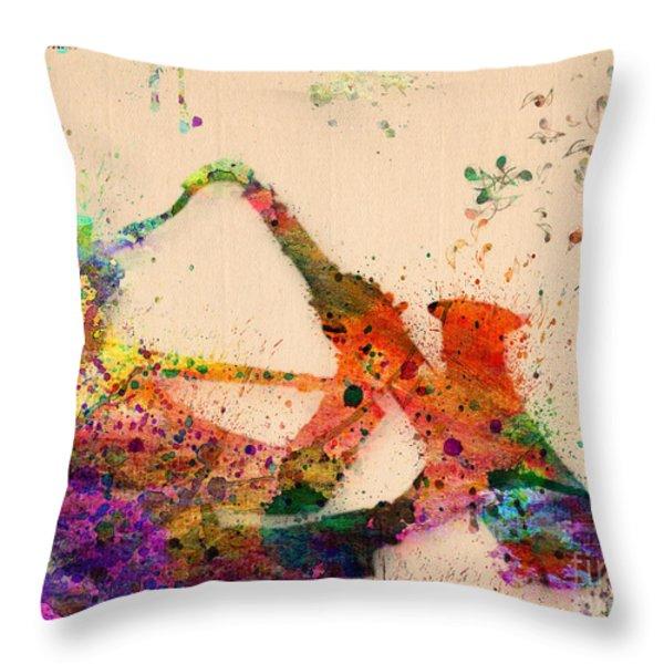 Saxophone  Throw Pillow by Mark Ashkenazi