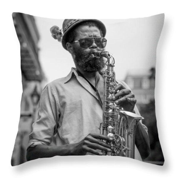 Saxophone Musician New Orleans Throw Pillow by David Morefield