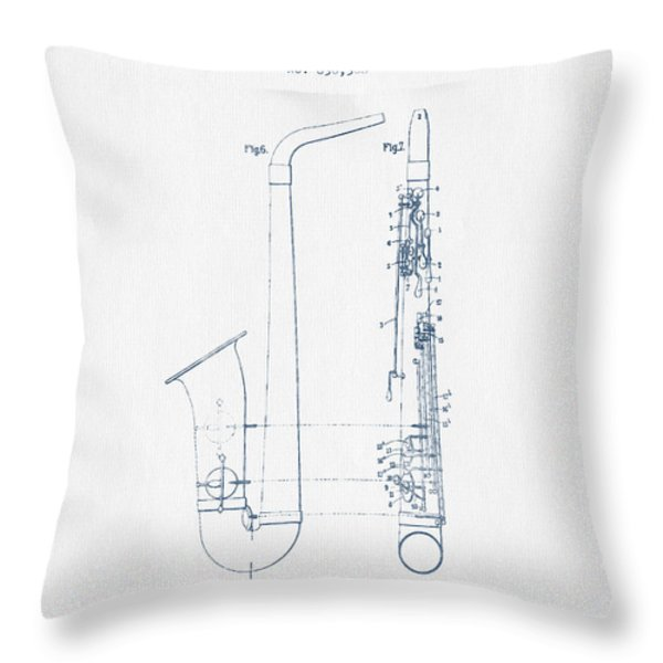 Saxophone Patent Drawing From 1899 - Blue Ink Throw Pillow by Aged Pixel
