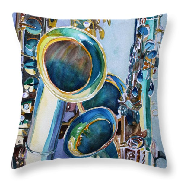 Saxy Trio Throw Pillow by Jenny Armitage