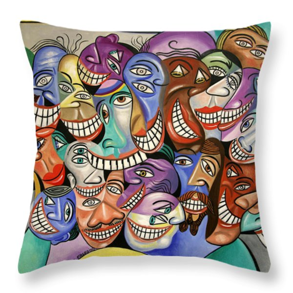 Say Cheese Throw Pillow by Anthony Falbo