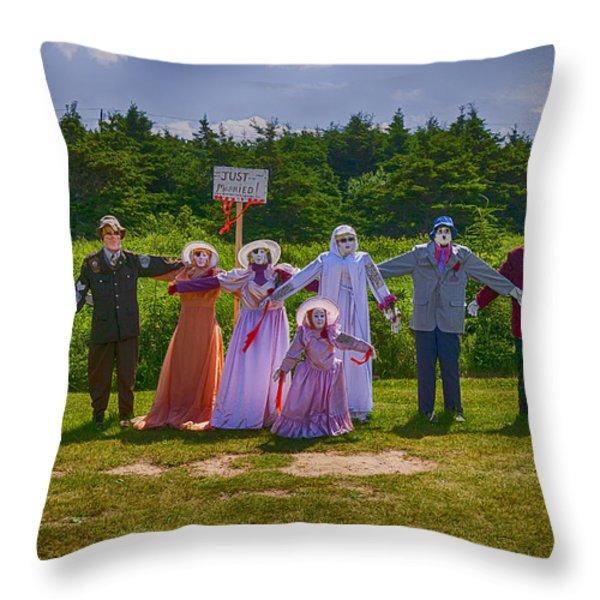 Scarecrow Wedding Throw Pillow by Garry Gay