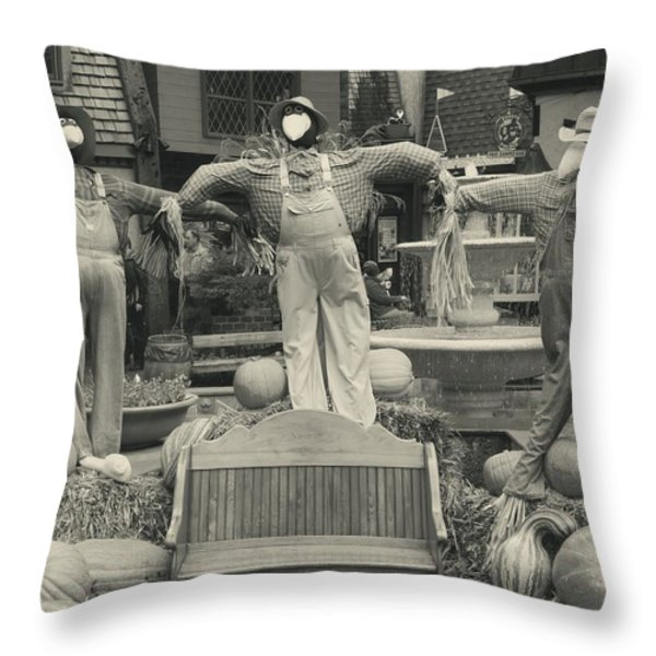 Scarecrows In Autumn Gatlinburg Tennessee Throw Pillow by Dan Sproul