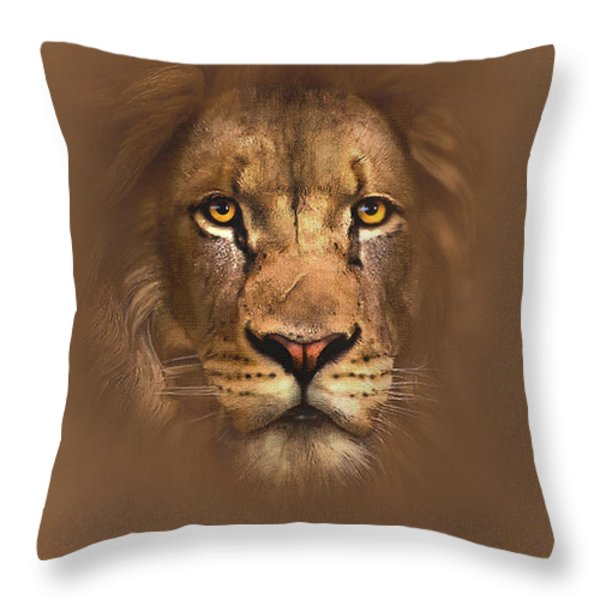 SCARFACE LION Throw Pillow by Robert Foster