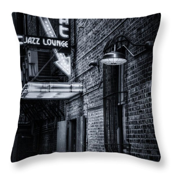 Scat Lounge in Cool Black and White Throw Pillow by Joan Carroll