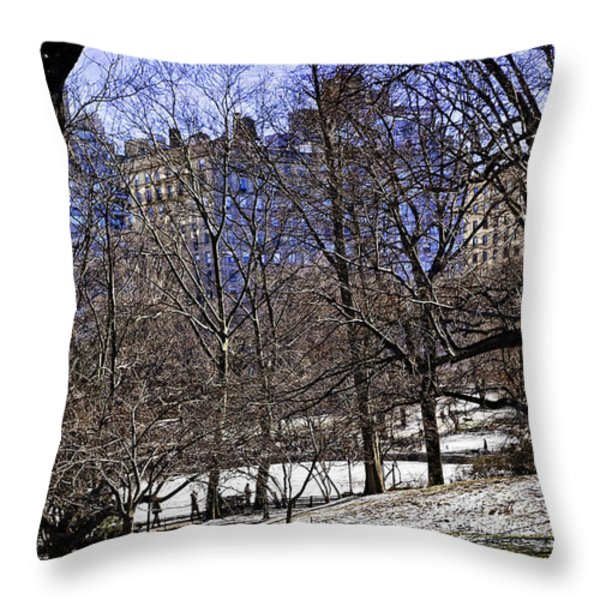 Scene From Central Park - Nyc Throw Pillow by Madeline Ellis