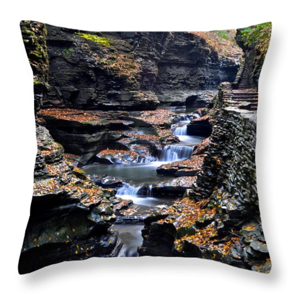 Scenic Cascade Throw Pillow by Frozen in Time Fine Art Photography