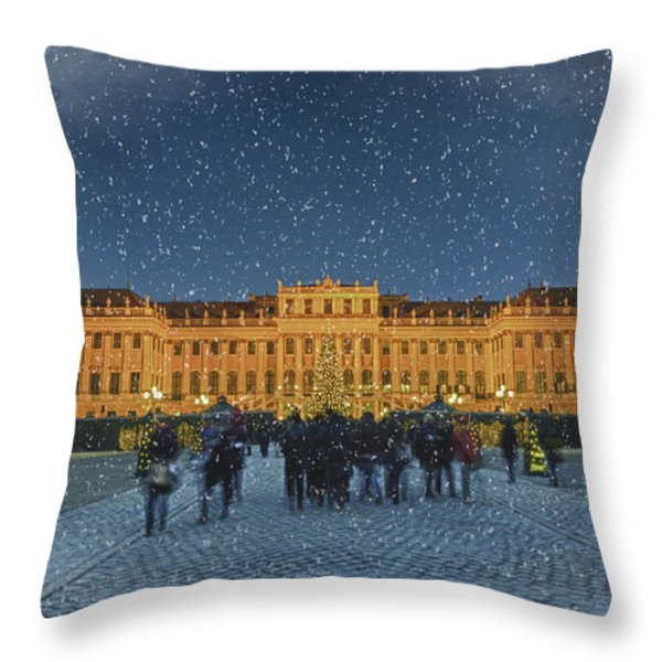 Schonbrunn Christmas Market Throw Pillow by Joan Carroll