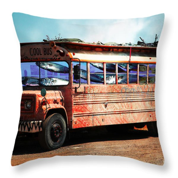 School Bus 5D24927 Throw Pillow by Wingsdomain Art and Photography