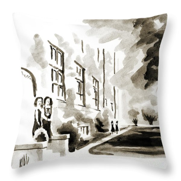 School Days at Ursuline II Throw Pillow by Kip DeVore