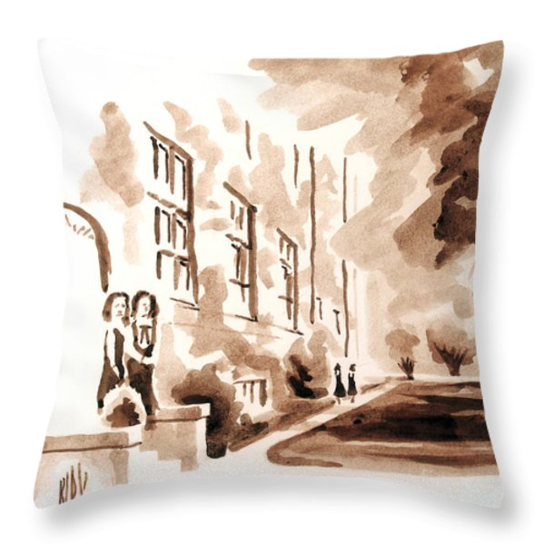School Days At Ursuline Throw Pillow by Kip DeVore