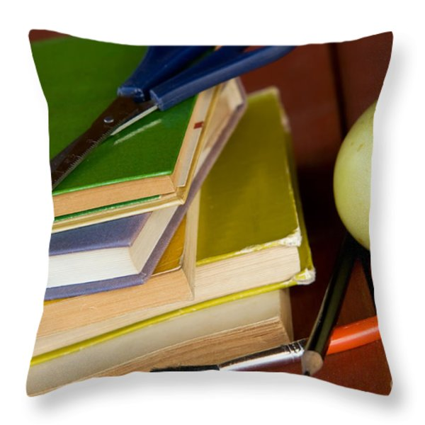 School Equipment Throw Pillow by Michal Bednarek