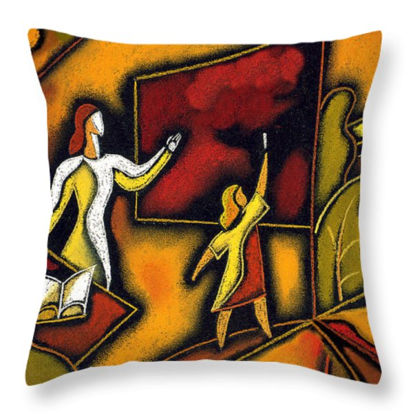 School Throw Pillow by Leon Zernitsky