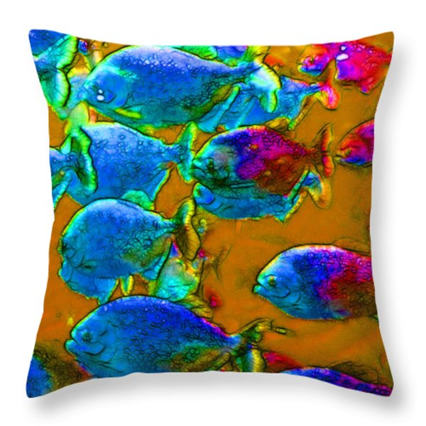 School of Piranha v1 Throw Pillow by Wingsdomain Art and Photography