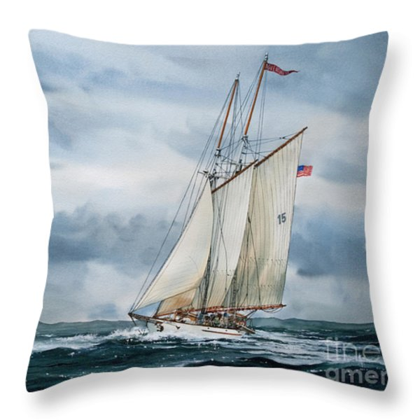 Schooner Adventuress Throw Pillow by James Williamson