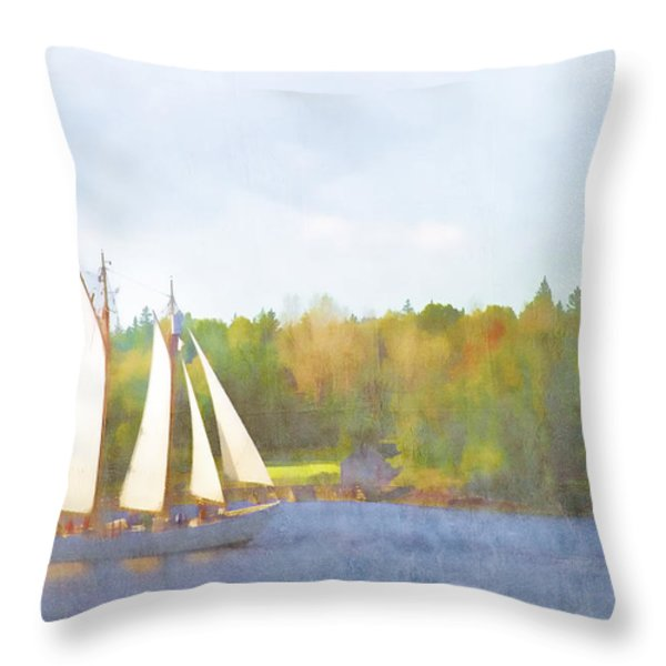 Schooner Castine Harbor Maine Throw Pillow by Carol Leigh