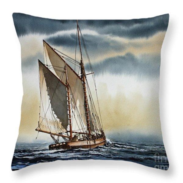 Schooner Throw Pillow by James Williamson