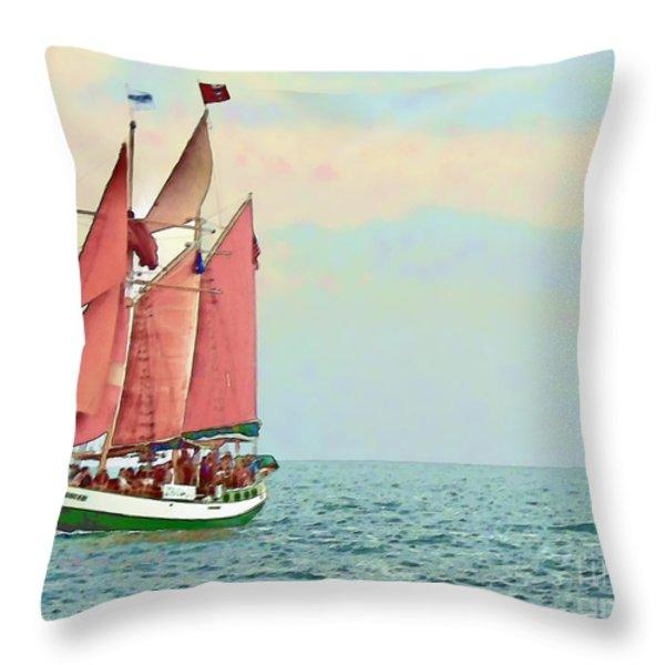 Schooner Jolly Rover Key West Throw Pillow by Joan  Minchak