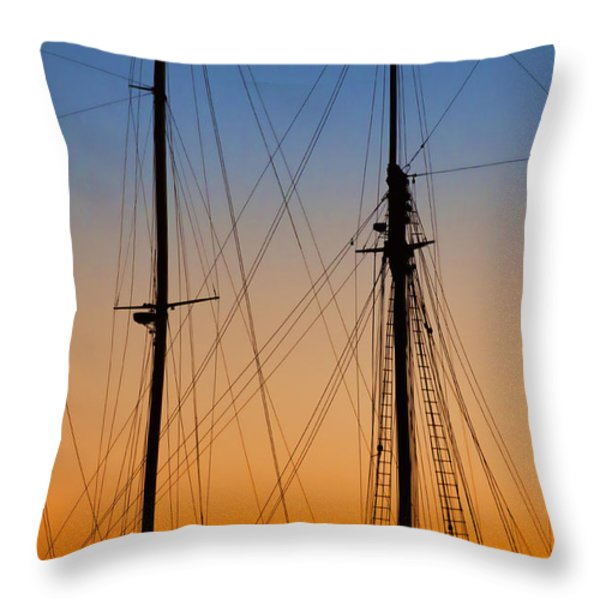 Schooner Masts Martha's Vineyard Throw Pillow by Carol Leigh
