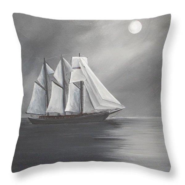 Schooner Moon Throw Pillow by Virginia Coyle