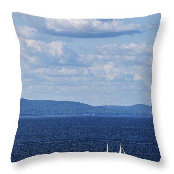 Schooner on the bay Throw Pillow by Diane Diederich