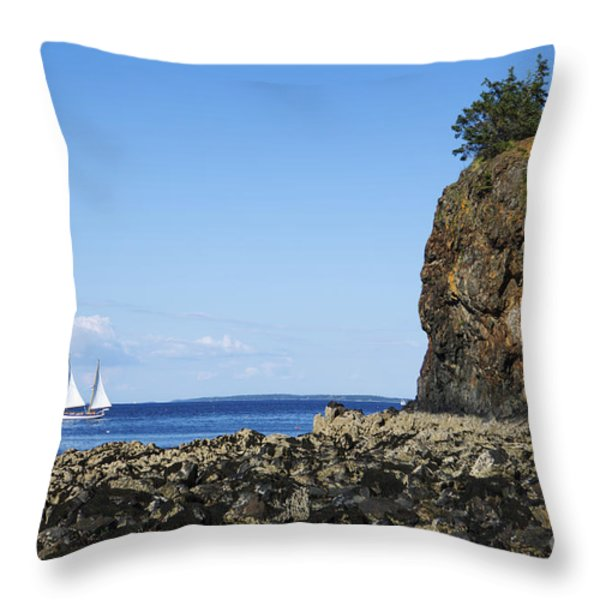 Schooner Sailing In The Bay Throw Pillow by Diane Diederich