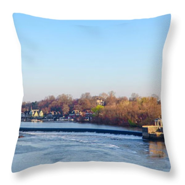 Schuylkill River at Boathouse Row and  the Fairmount Waterworks Throw Pillow by Bill Cannon