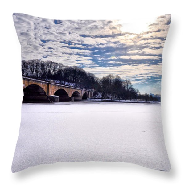 Schuylkill River - Frozen Throw Pillow by Bill Cannon