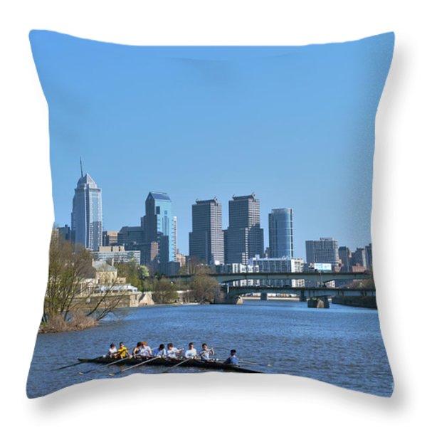 Schuylkill River Skulling Phila Pa Skyline Throw Pillow by David Zanzinger