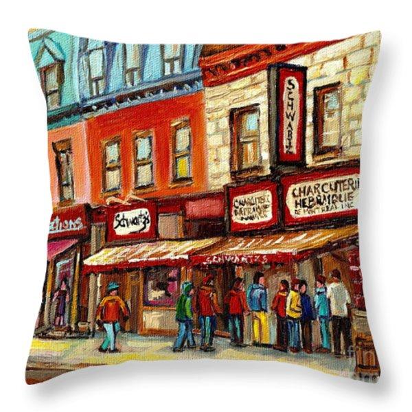 Schwartz The Musical Painting By Carole Spandau Montreal Streetscene Artist Throw Pillow by Carole Spandau