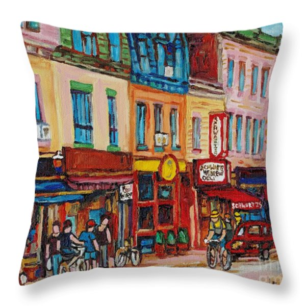 Schwartzs Deli And Warshaw Fruit Store Montreal Landmarks On St Lawrence Street Throw Pillow by Carole Spandau