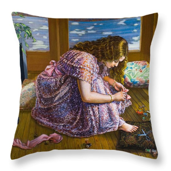 Scissors And Toes Throw Pillow by Dominique Amendola