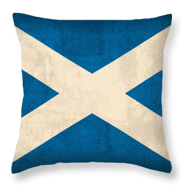Scotland Flag Vintage Distressed Finish Throw Pillow by Design Turnpike