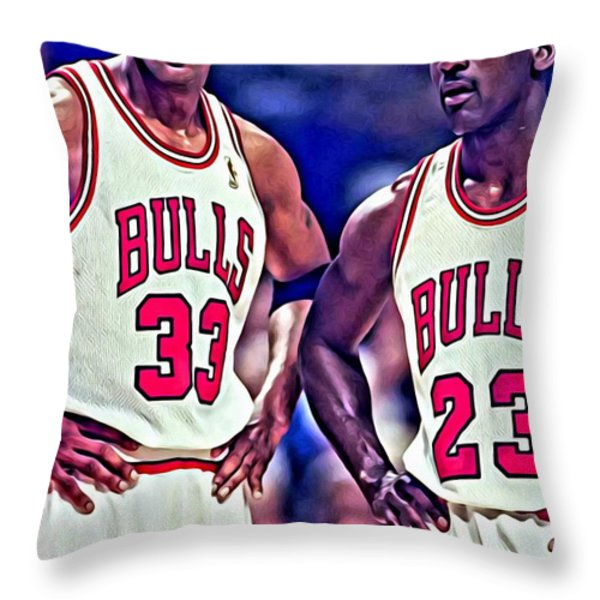 Scottie and Michael Throw Pillow by Florian Rodarte