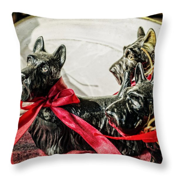 Scotties In The Window Throw Pillow by Caitlyn  Grasso