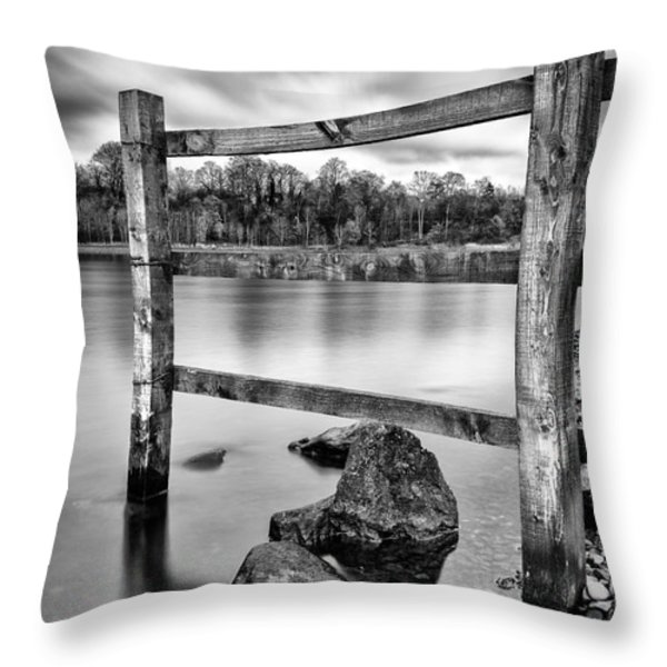 Scottish Loch With Fence Throw Pillow by John Farnan