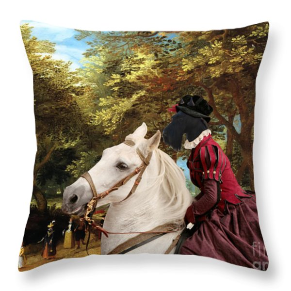 Scottish Terrier Art - Pasague With Horse Lady Throw Pillow by Sandra Sij