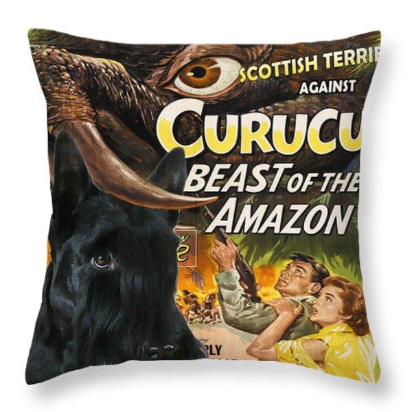 Scottish Terrier Art Canvas Print - Curucu Movie Poster Throw Pillow by Sandra Sij