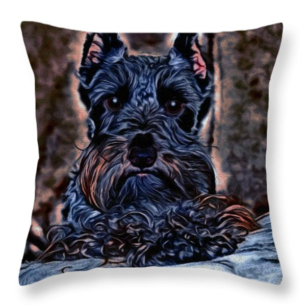 Scottish Terrier Throw Pillow by Tisha McGee