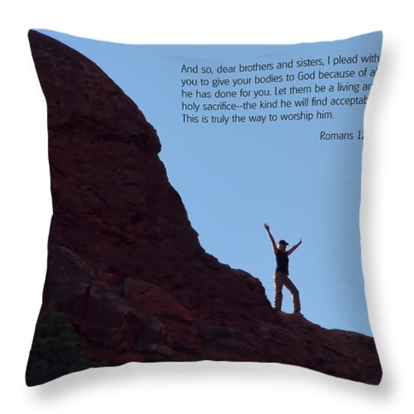 Scripture And Picture Romans 12 1 Throw Pillow by Ken Smith