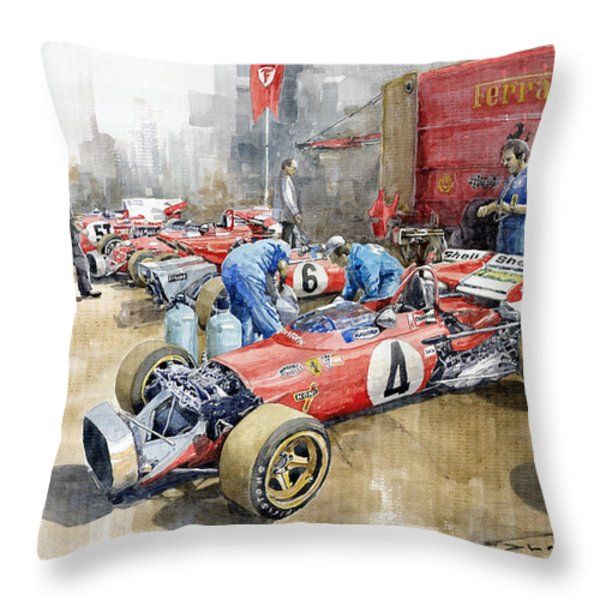 Scuderia Ferrari Paddock Spanish GP 1971 Ferrari 312B2  Throw Pillow by Yuriy Shevchuk