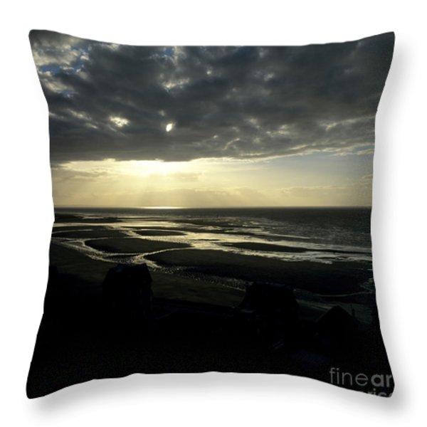 Sea and stormy sky Throw Pillow by BERNARD JAUBERT