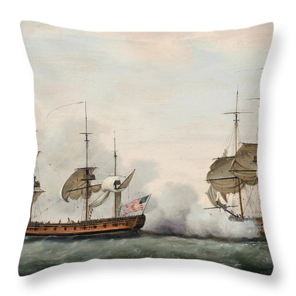 Sea Battle Throw Pillow by Francis Holman